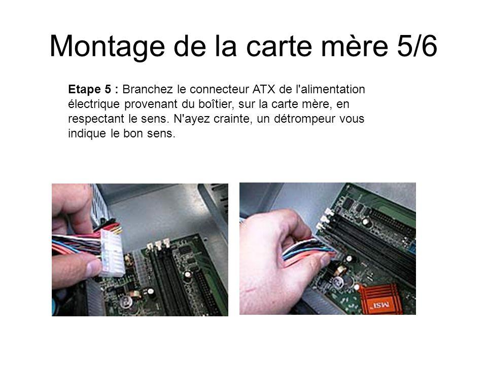 Montage de la carte mère 5/6 Etape 5 : Branchez le connecteur ATX de l'alimentation électrique provenant du boîtier, sur la carte mère, en respectant