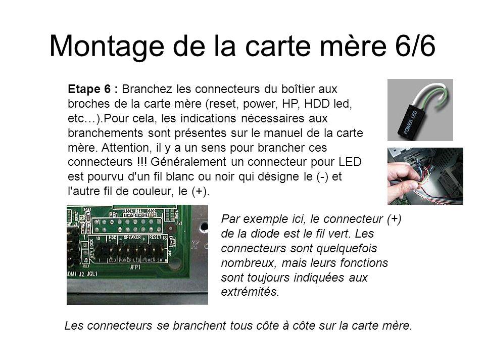 Montage de la carte mère 6/6 Etape 6 : Branchez les connecteurs du boîtier aux broches de la carte mère (reset, power, HP, HDD led, etc…).Pour cela, l