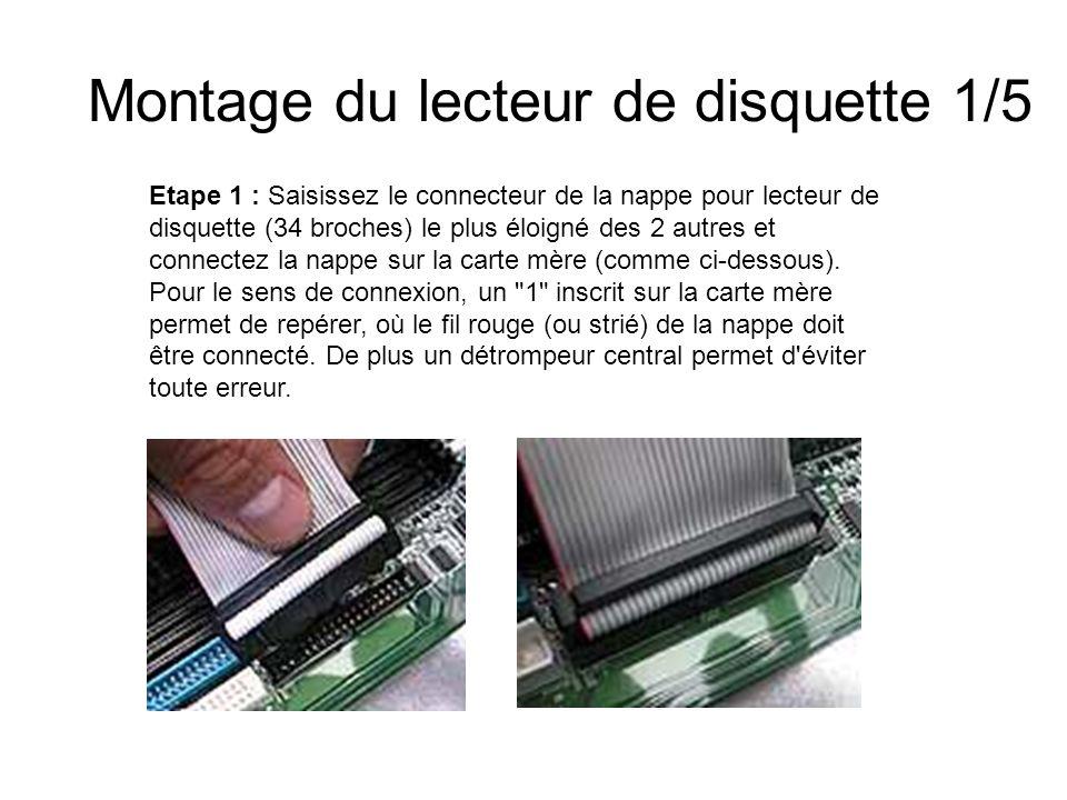 Montage du lecteur de disquette 1/5 Etape 1 : Saisissez le connecteur de la nappe pour lecteur de disquette (34 broches) le plus éloigné des 2 autres