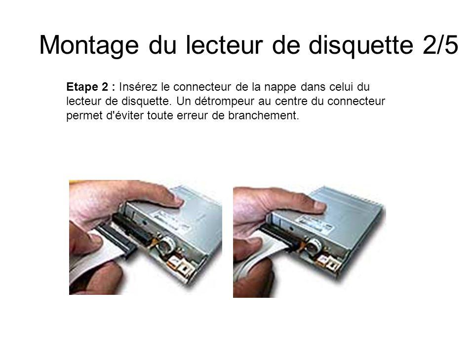 Montage du lecteur de disquette 2/5 Etape 2 : Insérez le connecteur de la nappe dans celui du lecteur de disquette. Un détrompeur au centre du connect