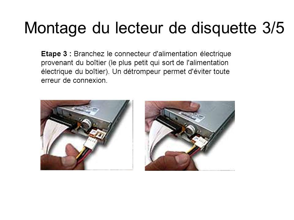 Montage du lecteur de disquette 3/5 Etape 3 : Branchez le connecteur d'alimentation électrique provenant du boîtier (le plus petit qui sort de l'alime