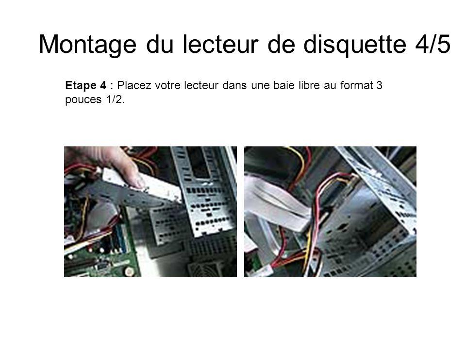 Montage du lecteur de disquette 4/5 Etape 4 : Placez votre lecteur dans une baie libre au format 3 pouces 1/2.