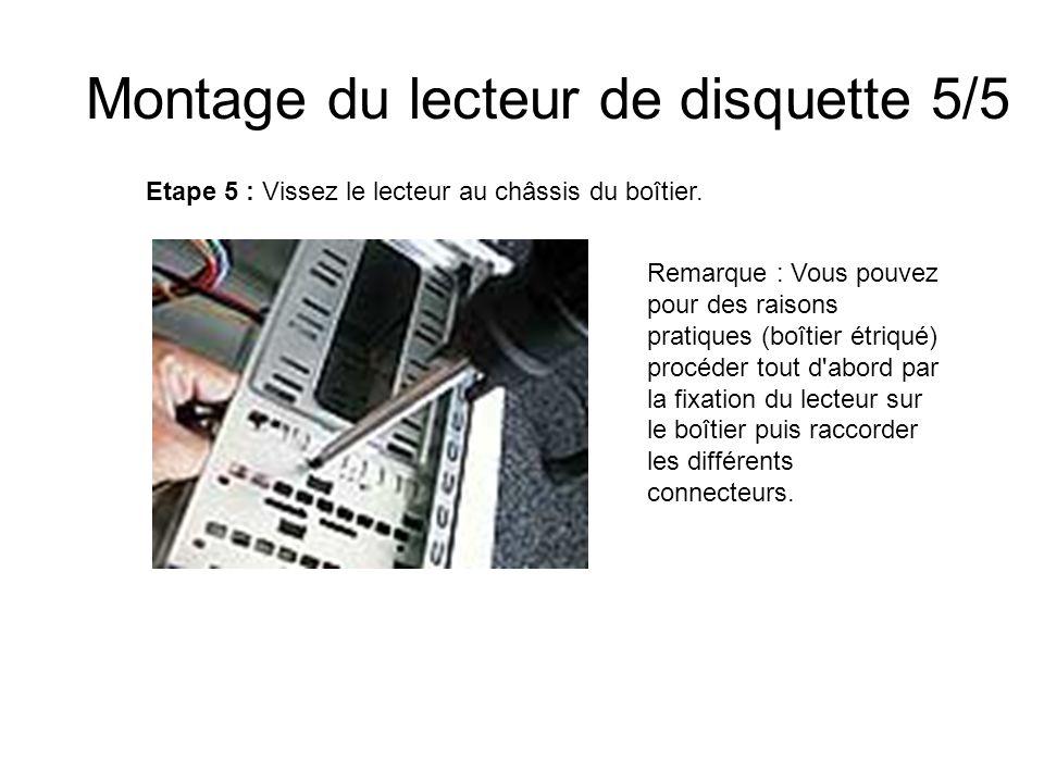 Montage du lecteur de disquette 5/5 Etape 5 : Vissez le lecteur au châssis du boîtier. Remarque : Vous pouvez pour des raisons pratiques (boîtier étri