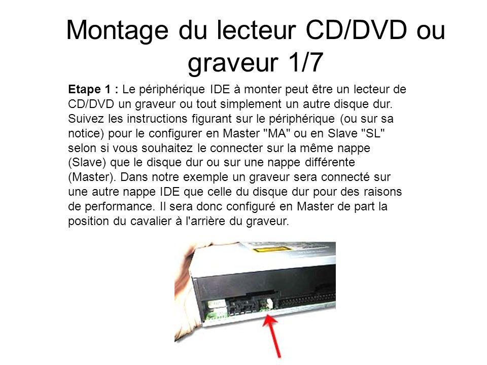 Montage du lecteur CD/DVD ou graveur 1/7 Etape 1 : Le périphérique IDE à monter peut être un lecteur de CD/DVD un graveur ou tout simplement un autre