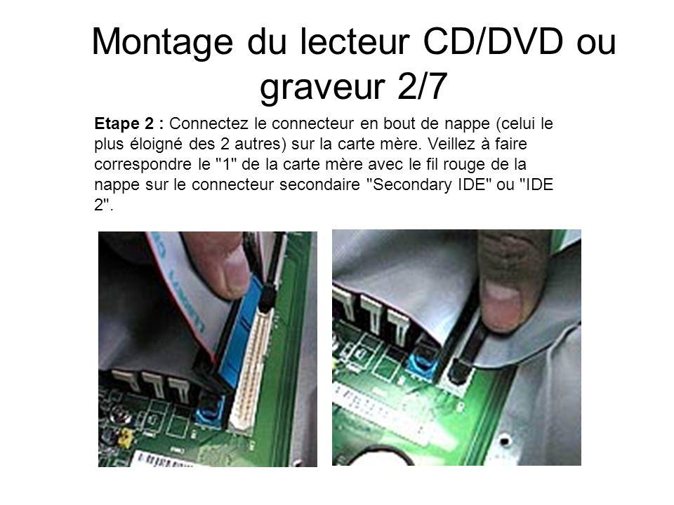 Montage du lecteur CD/DVD ou graveur 2/7 Etape 2 : Connectez le connecteur en bout de nappe (celui le plus éloigné des 2 autres) sur la carte mère. Ve