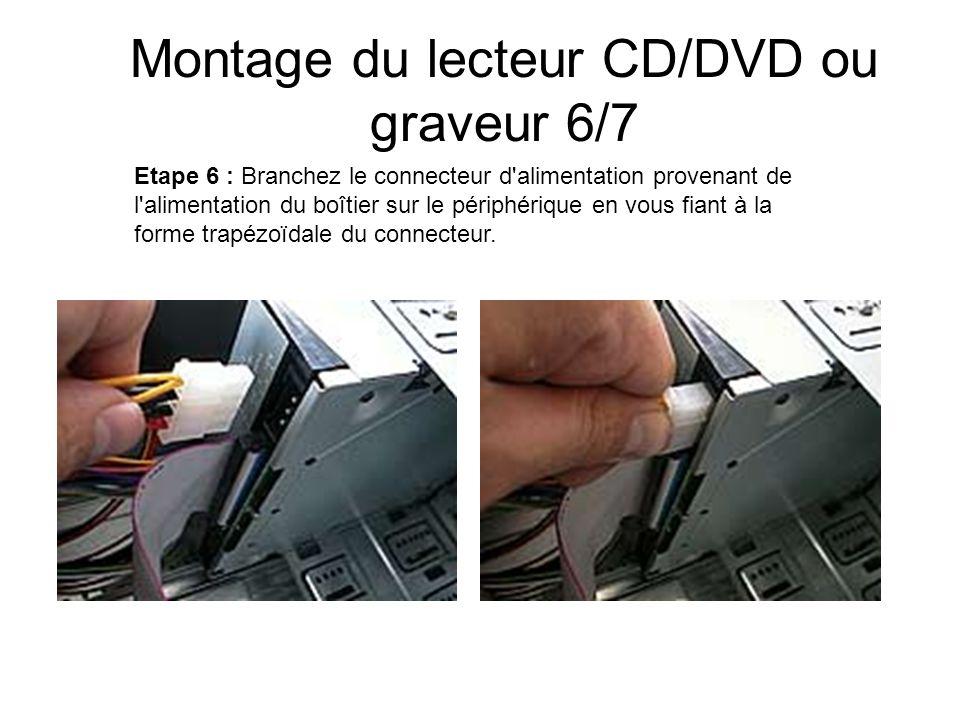 Montage du lecteur CD/DVD ou graveur 6/7 Etape 6 : Branchez le connecteur d'alimentation provenant de l'alimentation du boîtier sur le périphérique en
