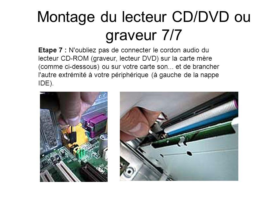 Montage du lecteur CD/DVD ou graveur 7/7 Etape 7 : N'oubliez pas de connecter le cordon audio du lecteur CD-ROM (graveur, lecteur DVD) sur la carte mè