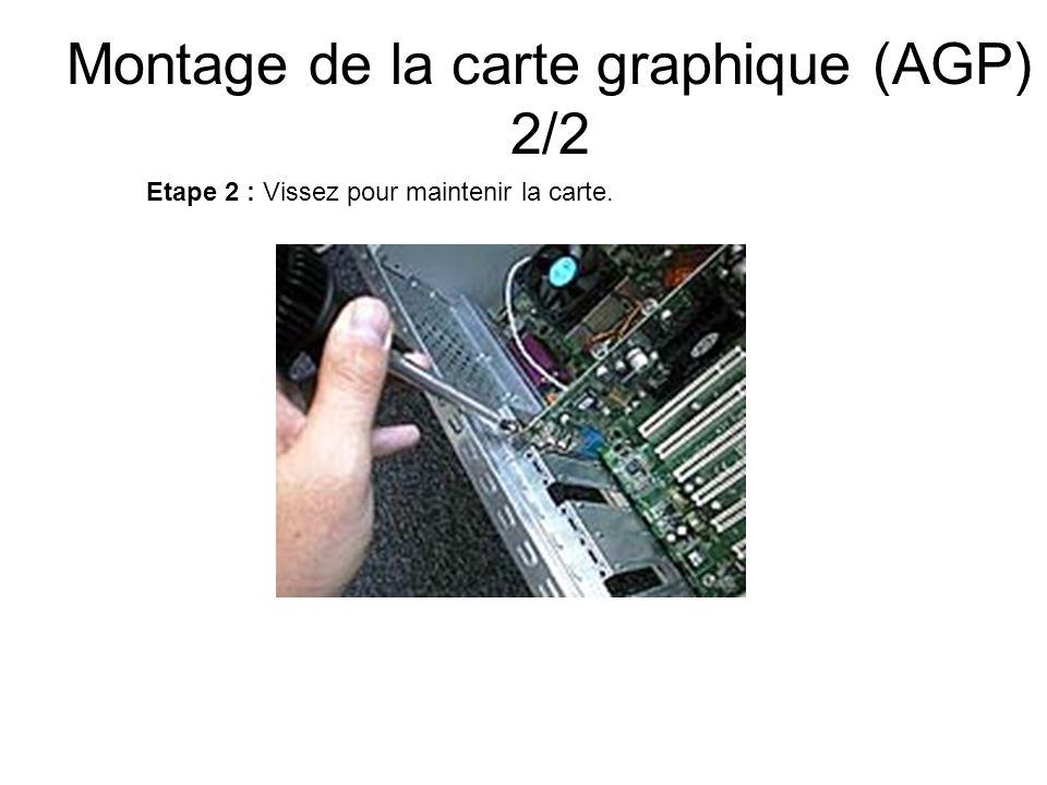Montage de la carte graphique (AGP) 2/2 Etape 2 : Vissez pour maintenir la carte.