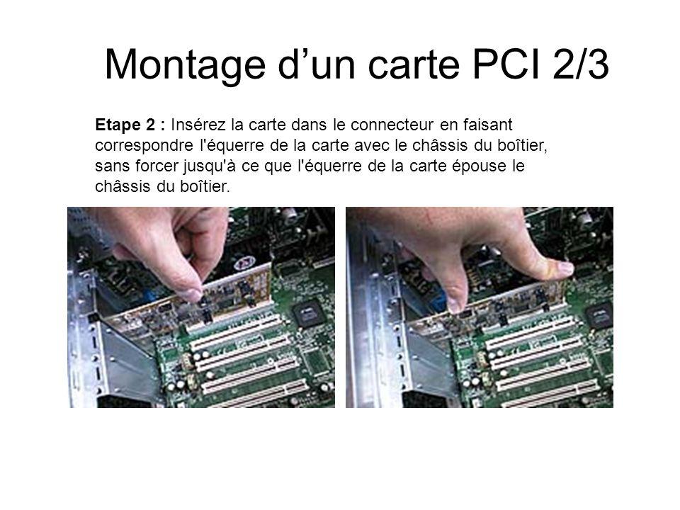 Montage dun carte PCI 2/3 Etape 2 : Insérez la carte dans le connecteur en faisant correspondre l'équerre de la carte avec le châssis du boîtier, sans