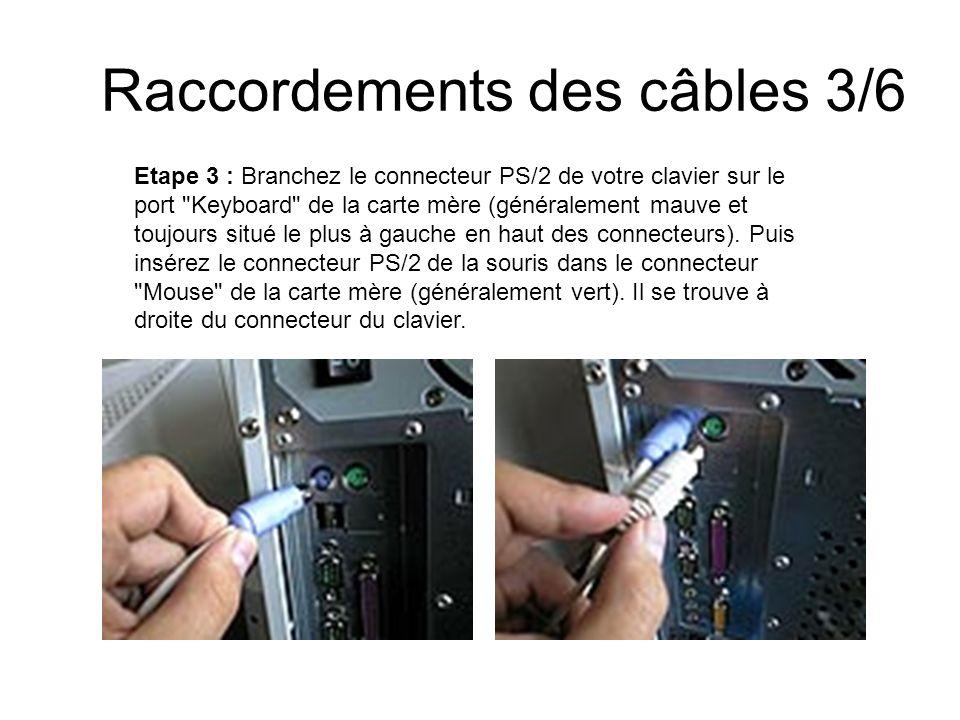 Raccordements des câbles 3/6 Etape 3 : Branchez le connecteur PS/2 de votre clavier sur le port