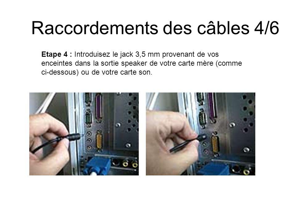 Raccordements des câbles 4/6 Etape 4 : Introduisez le jack 3,5 mm provenant de vos enceintes dans la sortie speaker de votre carte mère (comme ci-dess
