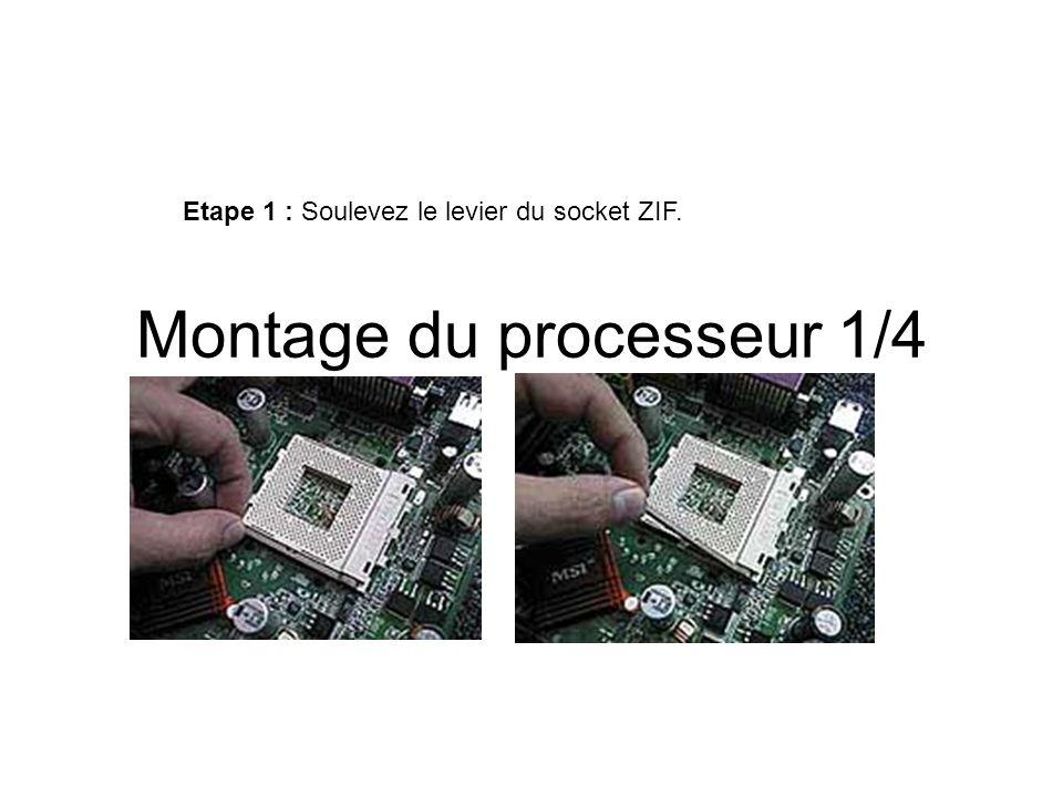 Montage du processeur 2/4 Etape 2 : Insérez le processeur (sans forcer) dans le socket en veillant à bien le positionner par rapport au détrompeur (en général un coin ou deux du processeur est dépourvu de broches et il(s) doit(vent) correspondre à celui ou ceux du socket, comme ci-dessous).