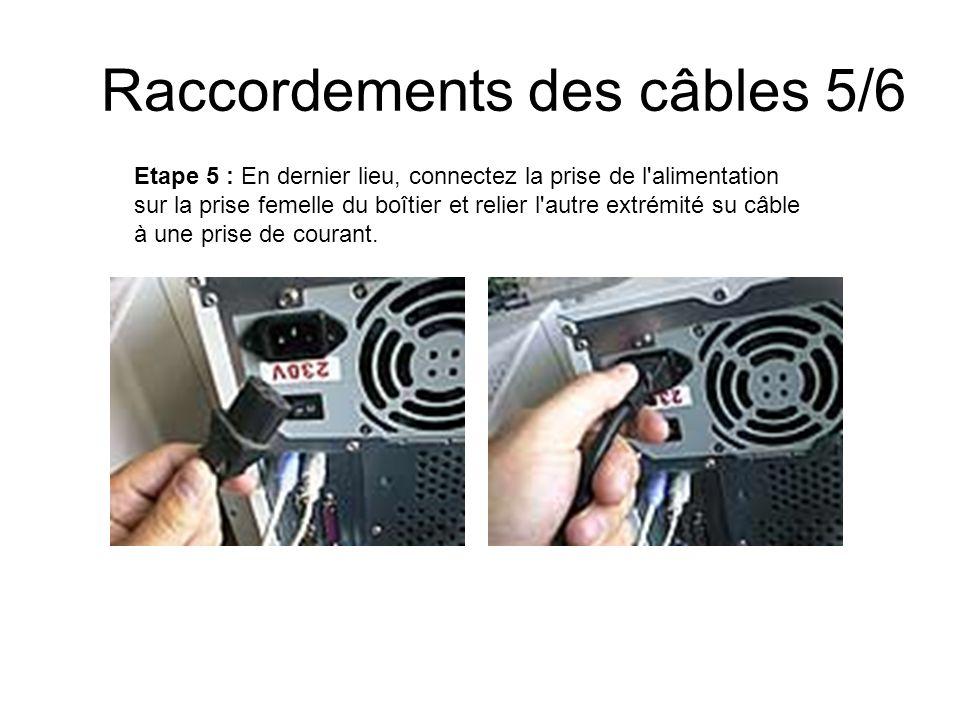 Raccordements des câbles 5/6 Etape 5 : En dernier lieu, connectez la prise de l'alimentation sur la prise femelle du boîtier et relier l'autre extrémi