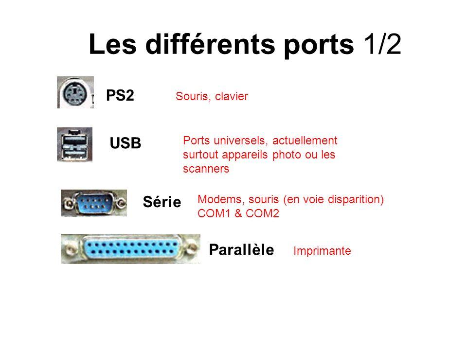Les différents ports 1/2 PS2 USB Série Parallèle Souris, clavier Ports universels, actuellement surtout appareils photo ou les scanners Modems, souris