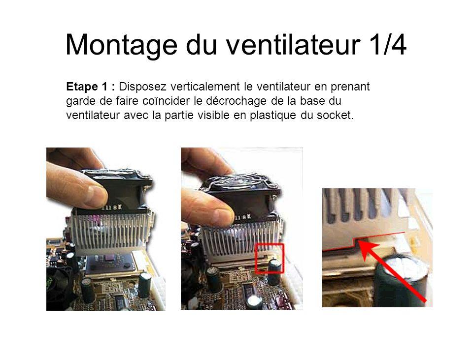 Montage du ventilateur 1/4 Etape 1 : Disposez verticalement le ventilateur en prenant garde de faire coïncider le décrochage de la base du ventilateur