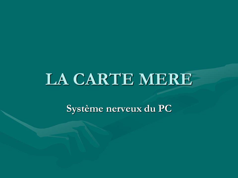 Les Facteurs dencombrement Type Largeur (Cm) Longueur (Cm) Mini ATX 28.4420.82 MicroATX24.3824.38 Flex ATX 22.8619.05 ATX30.4824.38 LPX22.8633.02 Mini-LPX20.8225.50 NLX22.8634.54 ITX19.0521.59 Baby AT 21.7633.12 Mini AT 22.0933.02 Mini ITX 1717 Nano1212 BTX32.526.6 MicroBTX26.426.6 PicoBTX20.326.6 Le terme facteur dencombrement désigne les dimensions physiques de la carte mère.