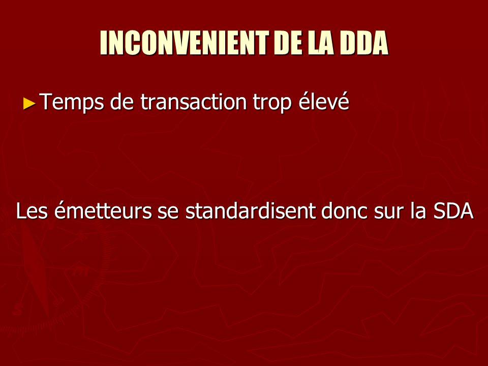 INCONVENIENT DE LA DDA Temps de transaction trop élevé Temps de transaction trop élevé Les émetteurs se standardisent donc sur la SDA