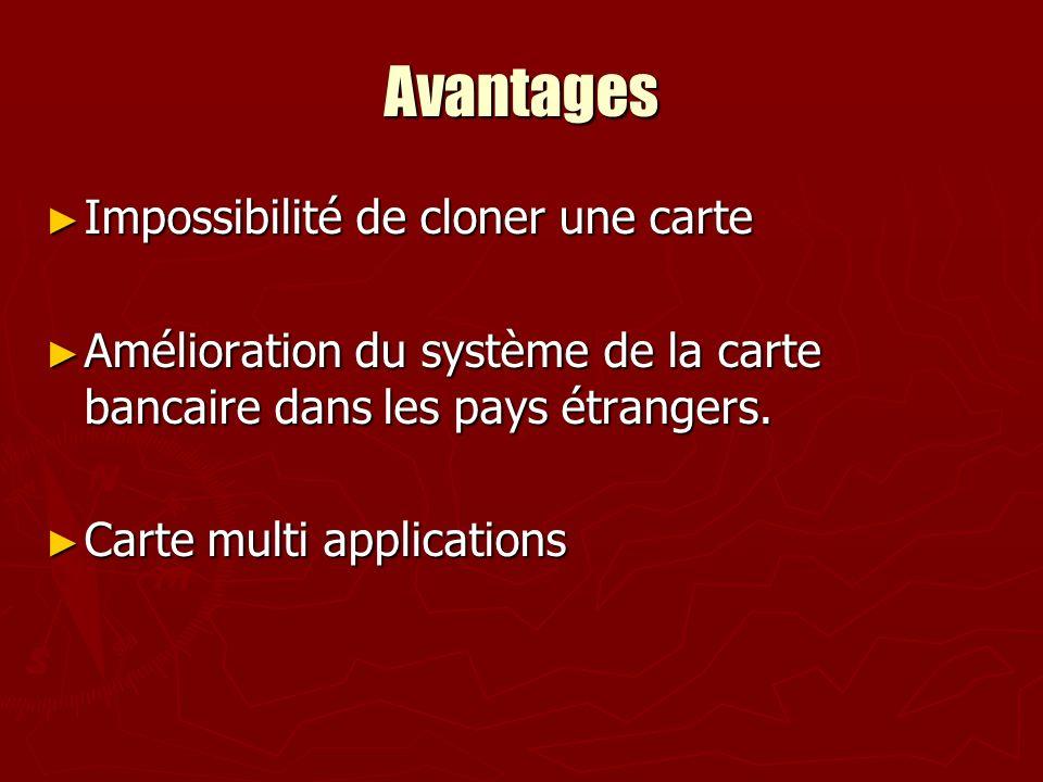 Avantages Impossibilité de cloner une carte Impossibilité de cloner une carte Amélioration du système de la carte bancaire dans les pays étrangers. Am
