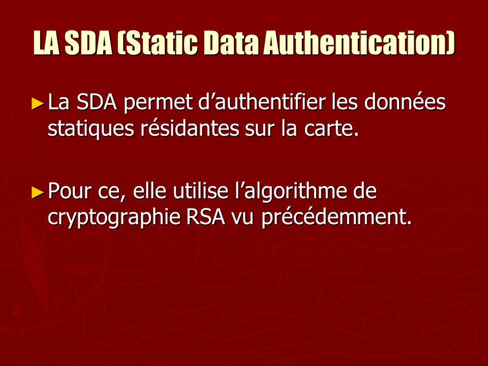 LA SDA (Static Data Authentication) La SDA permet dauthentifier les données statiques résidantes sur la carte. La SDA permet dauthentifier les données