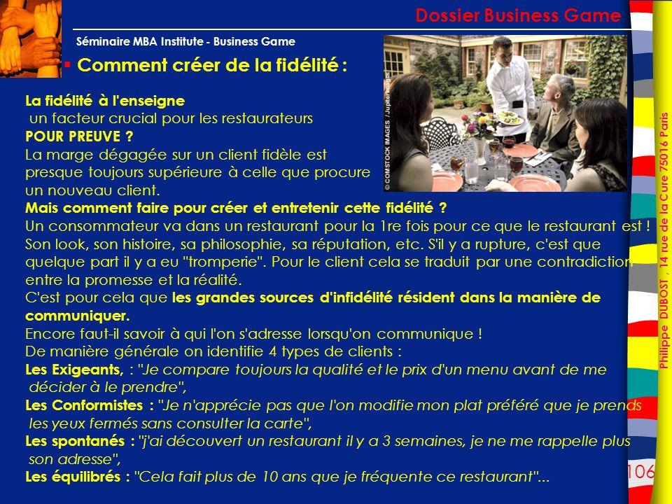106 Philippe DUBOST, 14 rue de la Cure 75016 Paris Séminaire MBA Institute - Business Game Comment créer de la fidélité : Dossier Business Game La fid