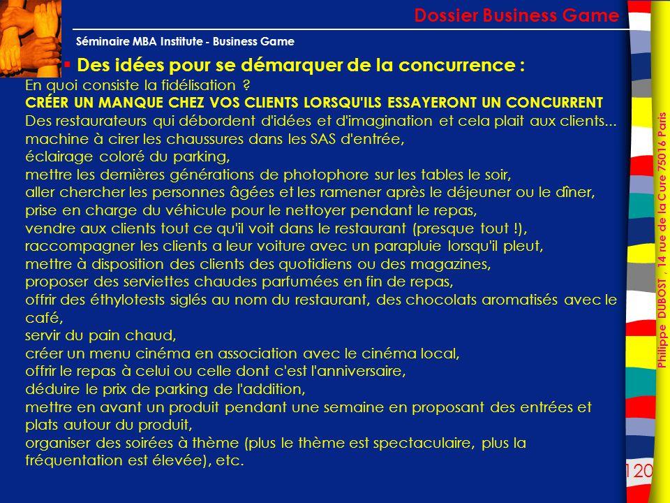 120 Philippe DUBOST, 14 rue de la Cure 75016 Paris Séminaire MBA Institute - Business Game Des idées pour se démarquer de la concurrence : Dossier Bus