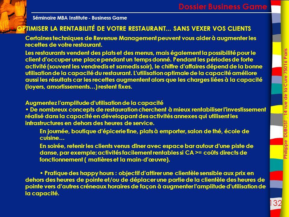 132 Philippe DUBOST, 14 rue de la Cure 75016 Paris Séminaire MBA Institute - Business Game OPTIMISER LA RENTABILITÉ DE VOTRE RESTAURANT... SANS VEXER