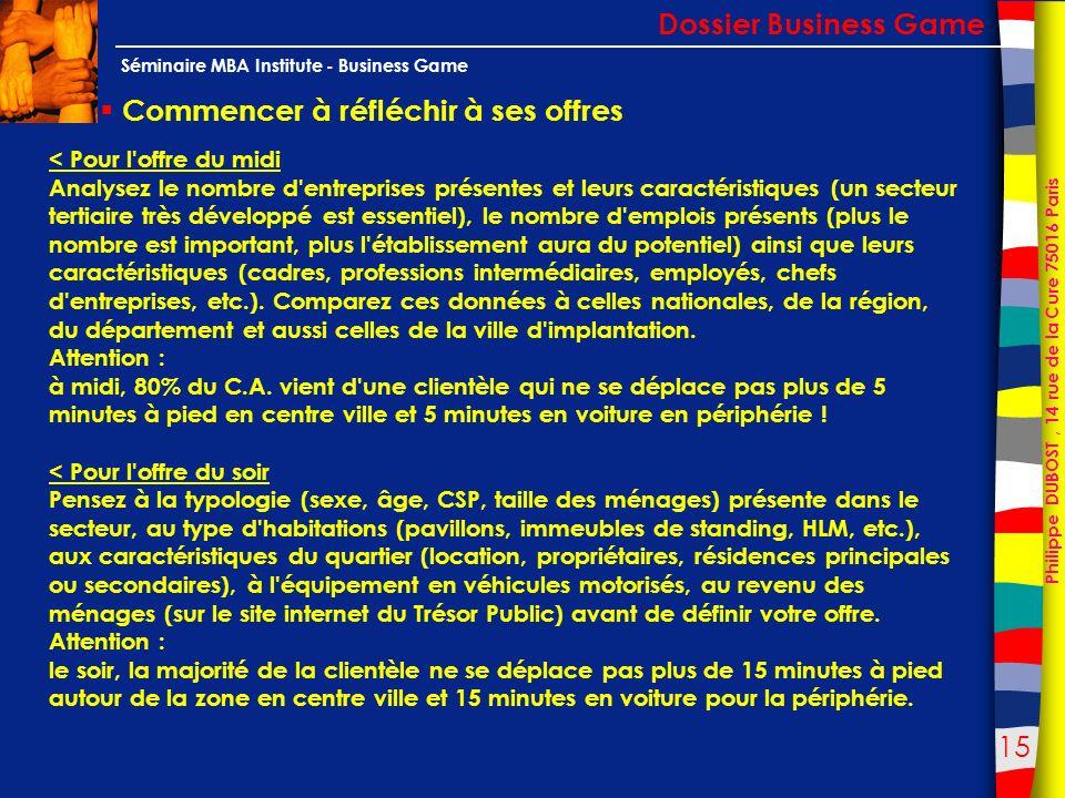 15 Philippe DUBOST, 14 rue de la Cure 75016 Paris Séminaire MBA Institute - Business Game Commencer à réfléchir à ses offres Dossier Business Game < P