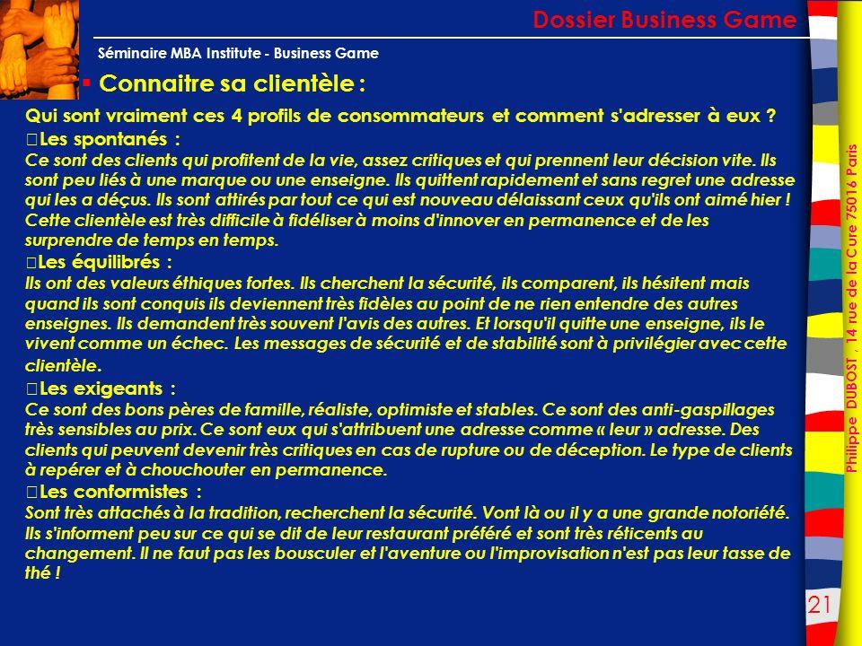 21 Philippe DUBOST, 14 rue de la Cure 75016 Paris Séminaire MBA Institute - Business Game Connaitre sa clientèle : Dossier Business Game Qui sont vrai