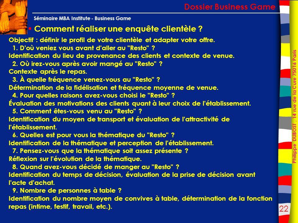 22 Philippe DUBOST, 14 rue de la Cure 75016 Paris Séminaire MBA Institute - Business Game Comment réaliser une enquête clientèle ? Dossier Business Ga