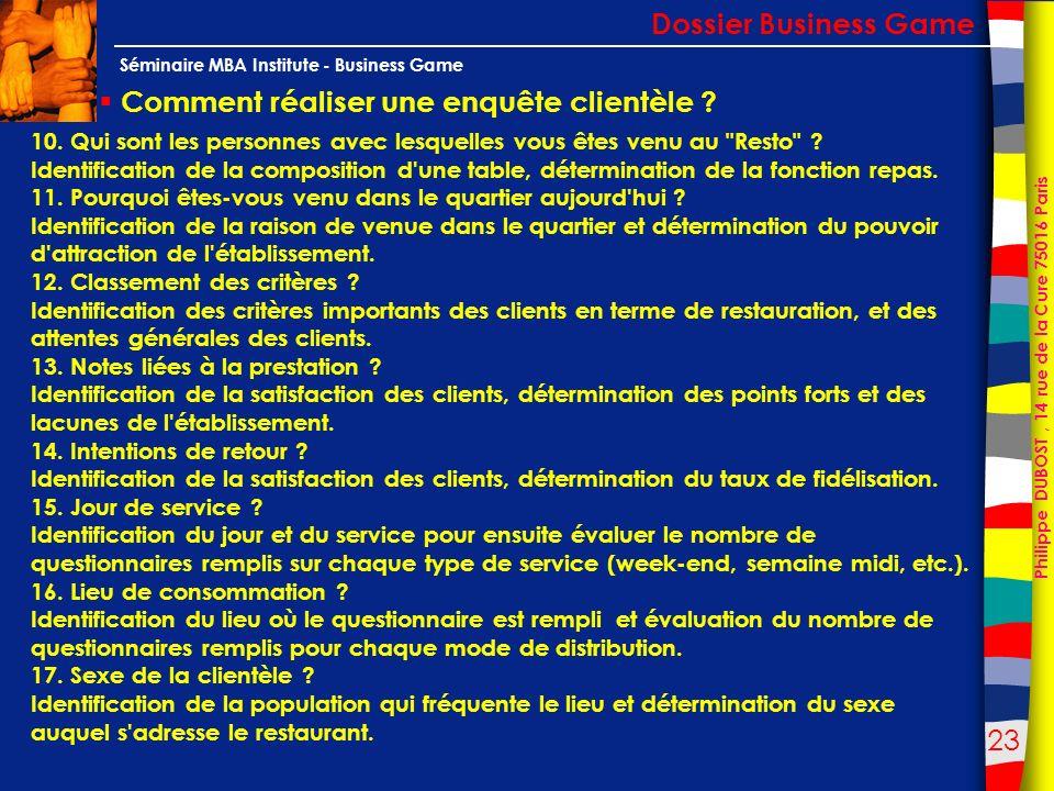 23 Philippe DUBOST, 14 rue de la Cure 75016 Paris Séminaire MBA Institute - Business Game Comment réaliser une enquête clientèle ? Dossier Business Ga