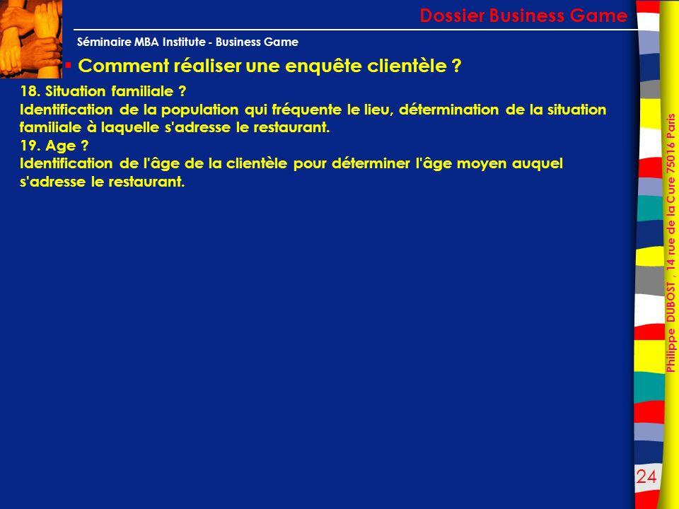 24 Philippe DUBOST, 14 rue de la Cure 75016 Paris Séminaire MBA Institute - Business Game Comment réaliser une enquête clientèle ? Dossier Business Ga