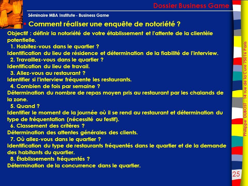25 Philippe DUBOST, 14 rue de la Cure 75016 Paris Séminaire MBA Institute - Business Game Comment réaliser une enquête de notoriété ? Dossier Business