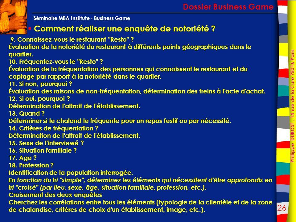 26 Philippe DUBOST, 14 rue de la Cure 75016 Paris Séminaire MBA Institute - Business Game Comment réaliser une enquête de notoriété ? Dossier Business