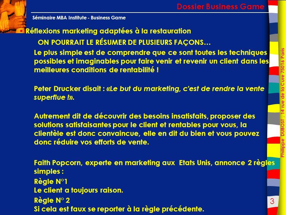 34 Philippe DUBOST, 14 rue de la Cure 75016 Paris Séminaire MBA Institute - Business Game Le cas dune reprise détablissement Dossier Business Game Les différents types d emplacement : les exemples en images