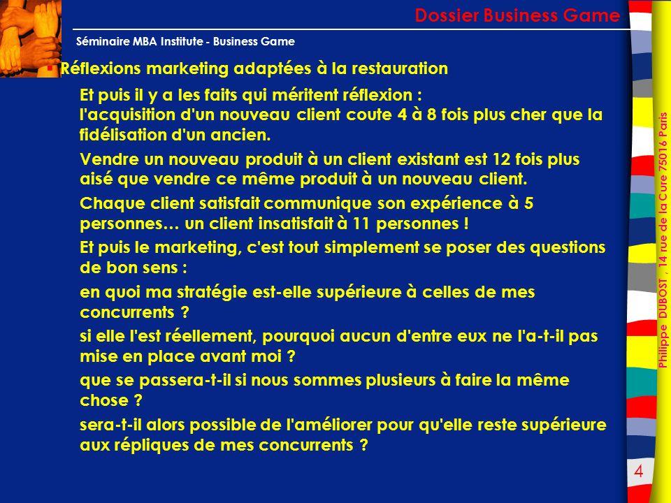 125 Philippe DUBOST, 14 rue de la Cure 75016 Paris Séminaire MBA Institute - Business Game 10 règles pour satisfaire un client : Dossier Business Game Les fondamentaux Et si on appliquait tout simplement ces 4 principes de base .
