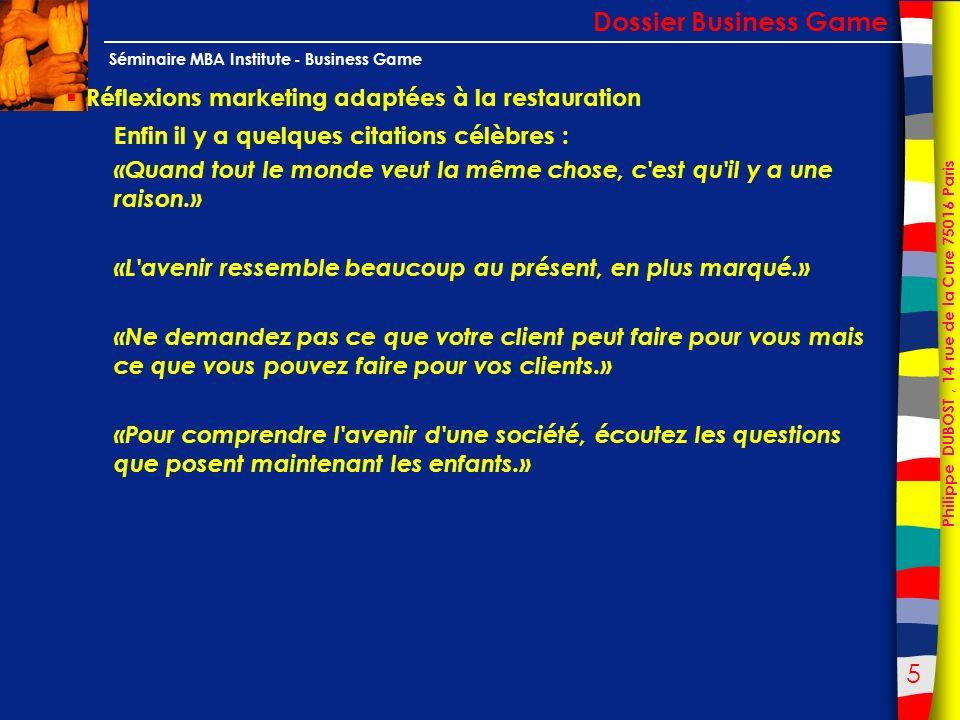 46 Philippe DUBOST, 14 rue de la Cure 75016 Paris Séminaire MBA Institute - Business Game Un outil dauto diagnostic Dossier Business Game Les questions relatives à mon restaurant L IMAGE DE MON ÉTABLISSEMENT 54.