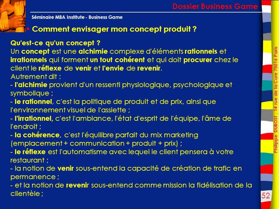 52 Philippe DUBOST, 14 rue de la Cure 75016 Paris Séminaire MBA Institute - Business Game Comment envisager mon concept produit ? Dossier Business Gam