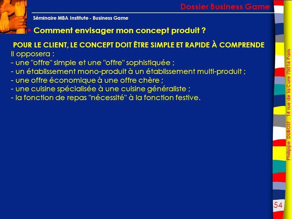54 Philippe DUBOST, 14 rue de la Cure 75016 Paris Séminaire MBA Institute - Business Game Comment envisager mon concept produit ? Dossier Business Gam