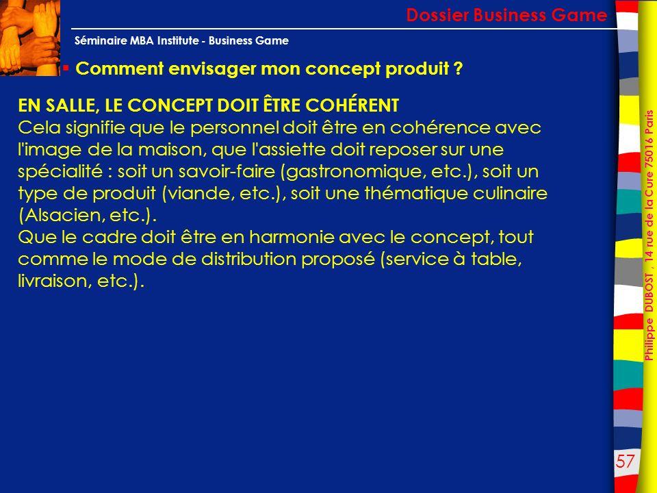 57 Philippe DUBOST, 14 rue de la Cure 75016 Paris Séminaire MBA Institute - Business Game Comment envisager mon concept produit ? Dossier Business Gam