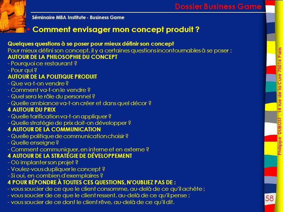 58 Philippe DUBOST, 14 rue de la Cure 75016 Paris Séminaire MBA Institute - Business Game Comment envisager mon concept produit ? Dossier Business Gam
