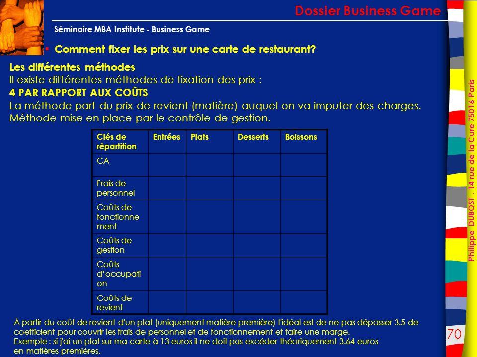70 Philippe DUBOST, 14 rue de la Cure 75016 Paris Séminaire MBA Institute - Business Game Comment fixer les prix sur une carte de restaurant? Dossier
