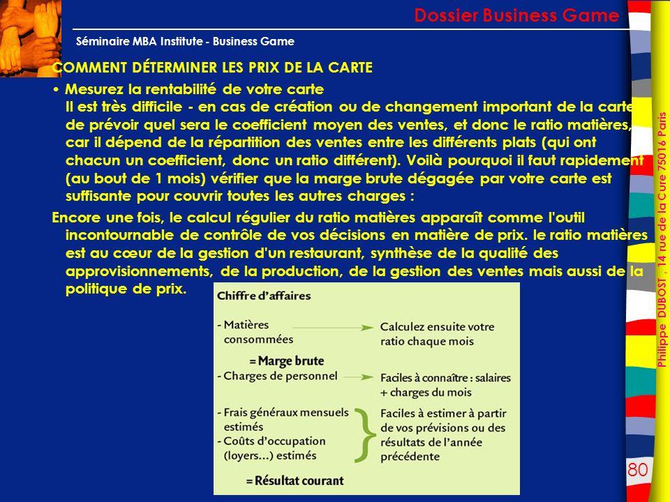 80 Philippe DUBOST, 14 rue de la Cure 75016 Paris Séminaire MBA Institute - Business Game COMMENT DÉTERMINER LES PRIX DE LA CARTE Mesurez la rentabili