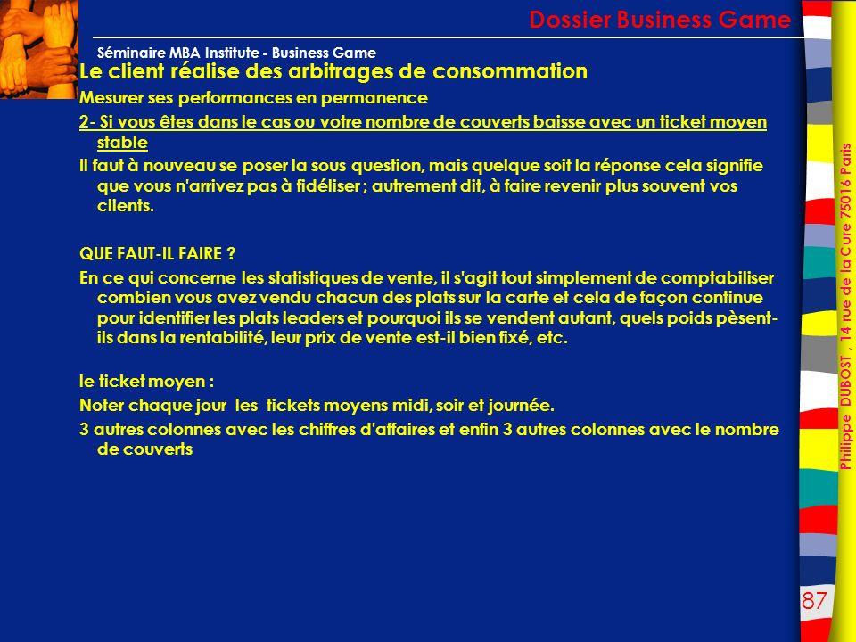 87 Philippe DUBOST, 14 rue de la Cure 75016 Paris Séminaire MBA Institute - Business Game Le client réalise des arbitrages de consommation Mesurer ses