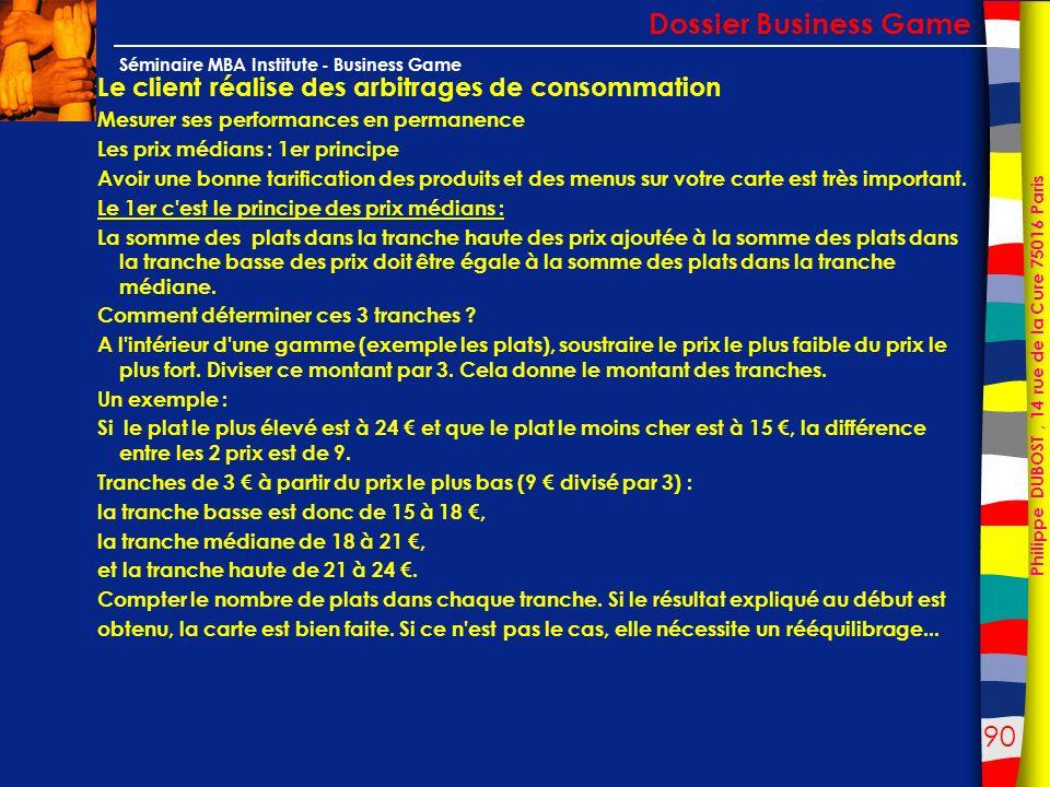 90 Philippe DUBOST, 14 rue de la Cure 75016 Paris Séminaire MBA Institute - Business Game Le client réalise des arbitrages de consommation Mesurer ses