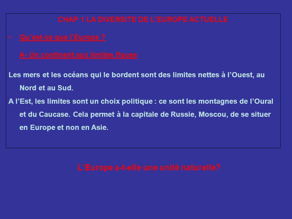 CHAP 1 LA DIVERSITE DE LEUROPE ACTUELLE Quest-ce que lEurope ? A- Un continent aux limites floues Les mers et les océans qui le bordent sont des limit