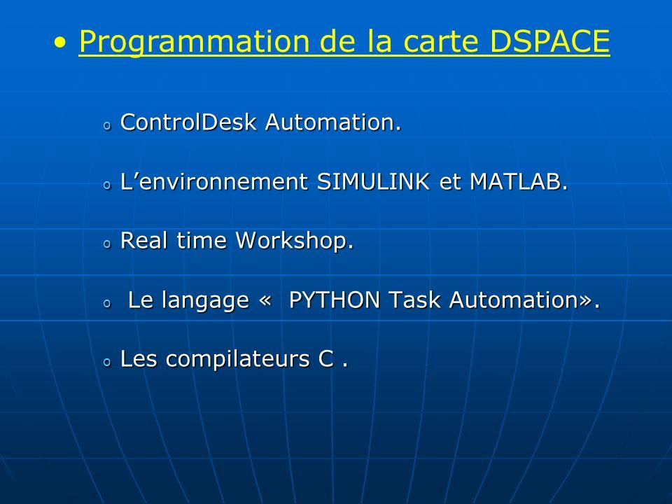 o ControlDesk Automation. o Lenvironnement SIMULINK et MATLAB. o Real time Workshop. o Le langage « PYTHON Task Automation». o Les compilateurs C. Pro