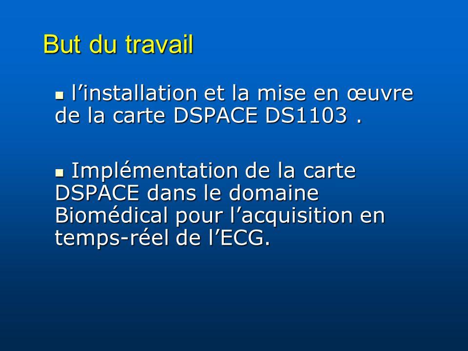 But du travail linstallation et la mise en œuvre de la carte DSPACE DS1103. linstallation et la mise en œuvre de la carte DSPACE DS1103. Implémentatio