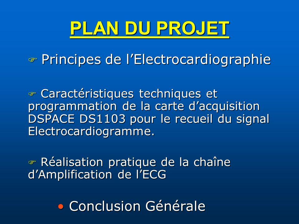 PLAN DU PROJET Principes de lElectrocardiographie Principes de lElectrocardiographie Caractéristiques techniques et programmation de la carte dacquisi