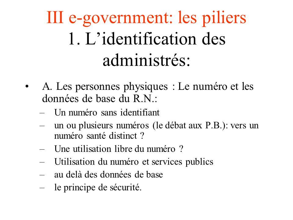 III e-government: les piliers 1. Lidentification des administrés: A. Les personnes physiques : Le numéro et les données de base du R.N.: –Un numéro sa