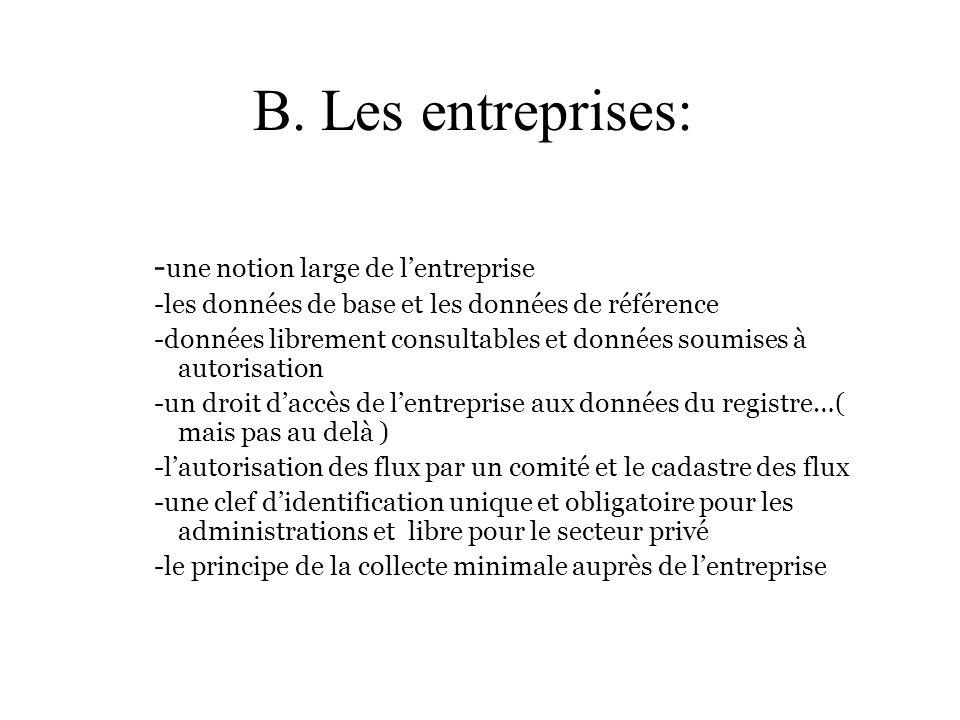 B. Les entreprises: - une notion large de lentreprise -les données de base et les données de référence -données librement consultables et données soum